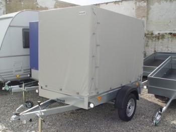 Tieflader 750kg  Ladefläche  2,07 x 1,1m mit Planenaufbau grau, 1,5m Komplettangebot