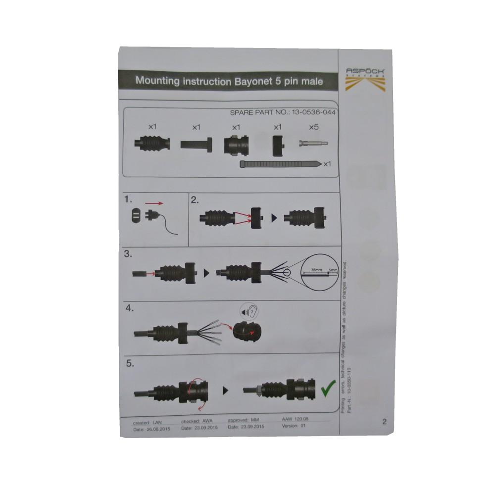 asp ck bajonettverbinder 5 polig m nnlich f r pkw. Black Bedroom Furniture Sets. Home Design Ideas